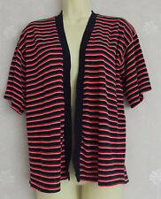 Ladies navy/red/white stripe short sleeve fine knit cardigan Size M