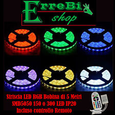 STRISCIA ADESIVA LED SMD LUCE MULTICOLOR 5050 300LED BOBINA 5 METRI STRIP RGB