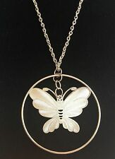 """Silver Plated Butterfly Necklace Chunky Filigree Pendant Insect 17-22"""" USASeller"""