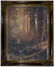 Bierstadt Giant Redwood Trees of California 1874 -Gold&Black Framed Canvas Print