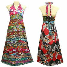 Peasant Boho Hippie Tier Ruffle Patchwork Halter Long Dress - YE337