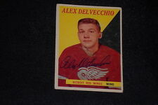 HOF ALEX DELVECCHIO 1958-59 TOPPS SIGNED AUTOGRAPHED CARD #52 RED WINGS