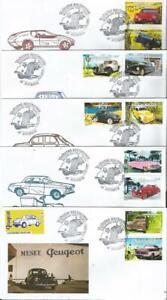 Série de 5 enveloppe premier jour France 2000 - Voitures anciennes Peugeot