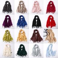 Womens Neckerchief Solid Shawl Winter Autumn Scarves Tassel Handkerchief Scarf