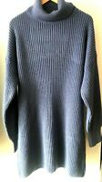 ASOS In the style BLUE soft ROLL NECK ribbed jumper dress UK 12 14 EU 40 42 NEW
