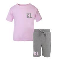 Personalised Initial Toddler Tracksuit Kids Short Suit Set Summer Custom Pink