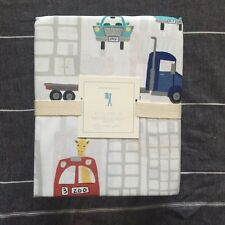 New  Pottery barn kids autos trucks cars full sheet set 4pc grey, red, aqua navy