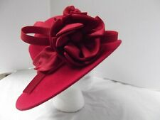 vtg Max & Ellie red hat felt wool fascinator ascot asymmetric bow hi low OS MINT