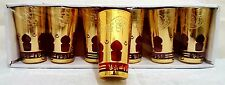 6 Oriental marroquí Taza de Té Soporte de vela Gafas Rojo Oro Vasos De Té