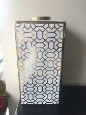 Ceramic Decorative White And gold Geometric Tall Vase