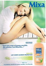 Publicité Advertising 2011 Cosmetique lait corps Mixa avec Estelle Lefebure