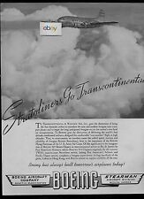 TWA BOEING 307 STRATOLINER 1940 NOW ON THE TRANSCONTINENTAL RUN AD