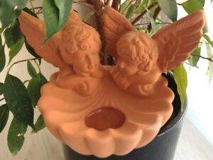 "Kerzenhalter Teelichthalter ""Engelspaar"" Engel, Terracotta, Partylite, P8020 neu"
