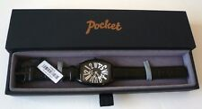 POCKET(£165RRP)Gents Watch with Oval Black Dial & Black Leather Strap - BNIB