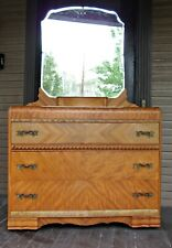 Antique Art Deco DRESSER Waterfall Furniture Satinwood 1930s with Mirror