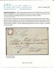 1861 lettera con 10 cent. 14Cbb firma + certificato