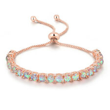 Pink Fire Opal Rose Gold Plated Women Jewelry Gemstone Chain Bracelet OS659