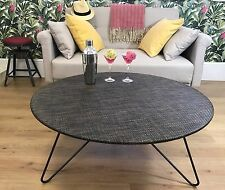 Metal & Weave Fabric Large Round Table - indoor & outdoor