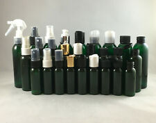 Green PET 4 oz Cosmo Round Plastic Bottles w Pump Spray, Disc Top Cap, & others