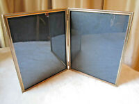 VINTAGE GOLD METAL EMBOSSED DOUBLE PHOTO HINGED FRAME 8X10 MID CENTURY MODERN