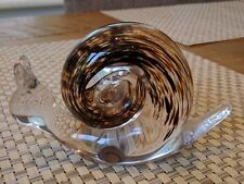 Wedgwood Mottled Brown and Clear Glass Snail Paperweight
