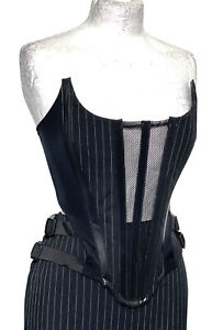 SDL 2pcs Pinstripes Corset With Skirt Back Tails & Buckles In U.K.12/14