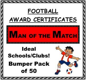 Bumper Pack 50 Football Award Certificates 'Man of the Match' - Quality Card