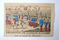 Gravure sur bois XIXème - Imagerie Populaire - Distribution des Drapeaux 1880