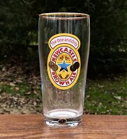 "NEWCASTLE BROWN ALE 6"" Gold Rim Bar Tavern Beer Glass, Made in Germany"