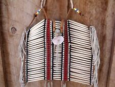 VTG Native American Style Lge Breastplate Bone Antler Shell Bead Leather 30 Rows