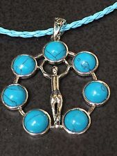 Chakra Blue Turquoise Gemstone Circle Charm Only No Necklace *6*