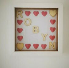 Personalised frame - baby or child's name with hearts. Colours options available
