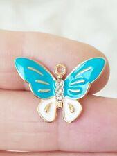 20 Blue Butterfly Charms Gold Tone Enamel Rhinestone  Pendants 21mm Findings