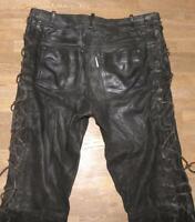 """ BLACK POINT "" Schnür- LEDERJEANS / Biker- Lederhose in schwarz ca. W34"" /L35"""