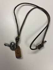 Vintage 2003 Abercrombie & Fitch Leather & Metal Key Necklace with Moose Image