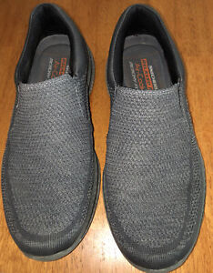 Skechers Mens Dual Lite Memory Foam Round Toe Gray Slip On Shoes Size US 10