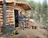1900 GOLD MINER COLORIZED PIKE'S PEAK 8X10 PHOTO LOG CABIN FRONTIER AMERICANA