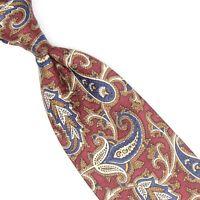 Robert Talbott Mens Silk Necktie Maroon Brown Blue White Paisley Tie USA