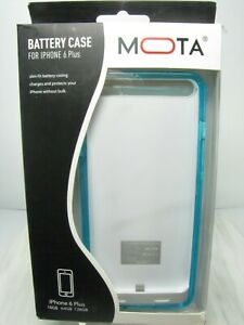 MOTA BATTERY CASE FOR iPHONE 6 PLUS  Clear Blue Green Color Case  + CORDS