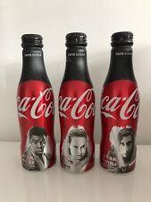 Star Wars The Last Jedi Coca Cola Zero 3 Aluminium Bottles UK 2017 Rey Finn Kylo