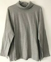 NEW PURE J. JILL 1X 2X 3X 4X Relaxed Turtleneck Pima Cotton/Spx L/S Gray Heather