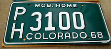 1968 Colorado Mobile Home License Plate - New w/Envelope - Pick Your Plate