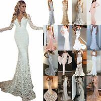 Womens Fishtail Party Bodycon Maxi Long Dress Gown Lace Wedding Evening Dresses