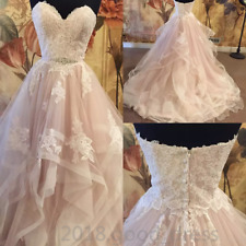 Tiered Skirt Wedding Dresses 2019 Sweetheart Neckline Blush Tulle Bridal Gown