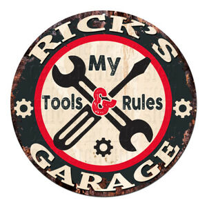 CGTR-0193 RICK'S Garage Tools Rules Chic Tin Sign Man Cave Decor Gift
