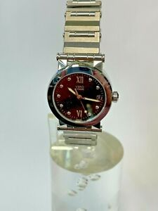 Movado Visio Ladies Quartz Watch, Steel Band, Black Dial, New Old Stock