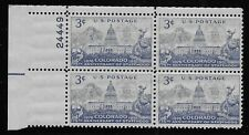US Scott #1001, Plate Block #24449 1951 Colorado 3c FVF MNH Upper Left
