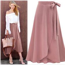 Women Long Skirts Front Split Skirt High Waist A-Line Skirt Bow Loose Plus Size