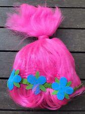 Girls Lady Women Pink Trolls Fancy Costume Party Hair Full Wigs