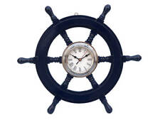 "Ships Steering Wheel Blue 18"" w/ Chrome Clock Wooden Nautical Hanging Wall Decor"